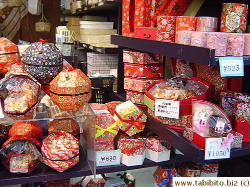 Colorful Japanese style boxes with candies inside