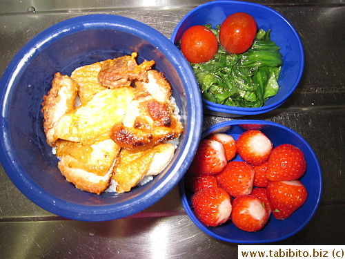 Seared chicken, sauteed lettuce, cherry tomatoes, strawberries